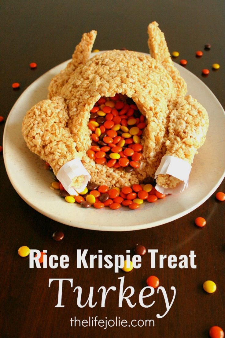 Rice Krispie Treat Turkey - 13 Most Adorable Thanksgiving Treats for the Kids Table