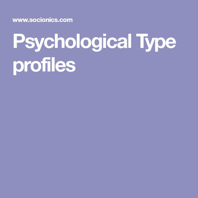 Psychological Type profiles