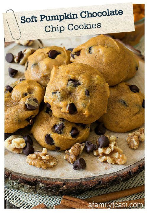 Check out Soft Pumpkin Chocolate Chip Cookies. It's so easy to make ...