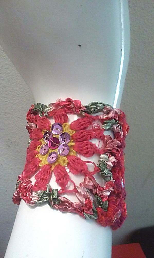BEAUTIFUL HAND CROCHET SEQUINS Red Pink Green Multi COLORS BRACELET HANDMADE NEW #Handmade #Crochet