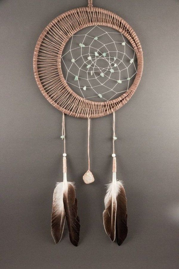 Moonstone Dream Catcher. The woven moonstone and crocheted patterns with gems hoop add more magic and legend touch to this handmade project. Great modern dream catcher!