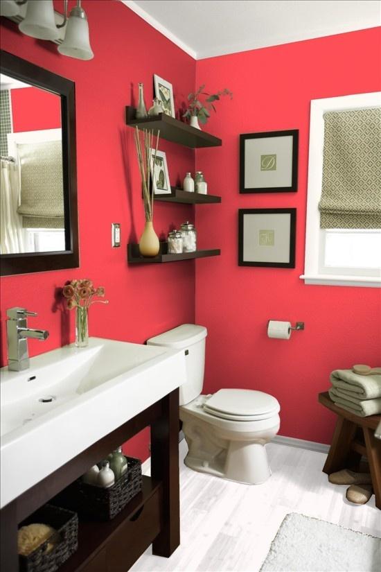 Shelves behind toilet in guest bath- basement bath, when we do a basement :)