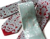 Dia de los Muertos tie - NARROW screenprinted microfiber necktie.. $30.00, via Etsy.