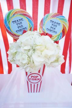 Loving this centerpiece at a circus birthday party! See more party ideas at CatchMyParty.com!