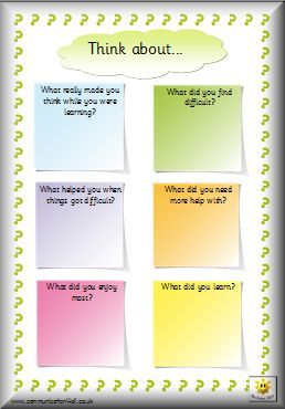 Here's a nice page for reflecting on learning.