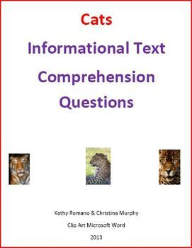 Informational text and comprehension questions on big cats such as tigers, lions, cheetahs, pumas, leopards, and jaguars.