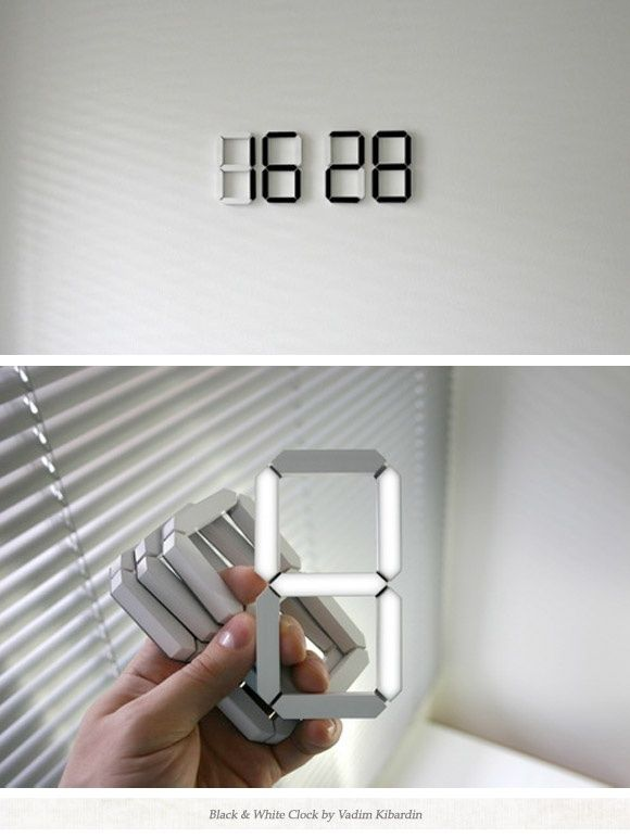 The stick-anywhere digital clock -- http://www.kibardindesign.com/en/white-and-white-clock-black-edition.aspx