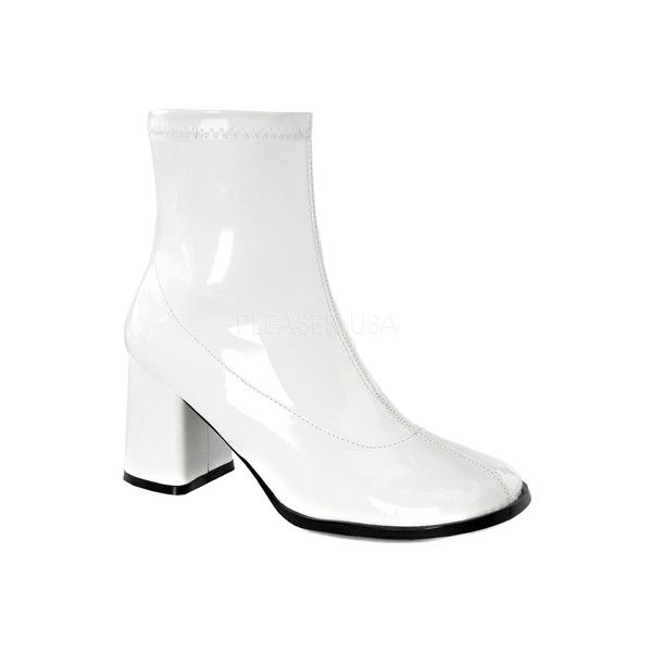 Women's Funtasma Gogo 150 Ankle Boot - White Stretch Patent Ankle... ($32) ❤ liked on Polyvore featuring shoes, boots, ankle booties, white, ankle boots, block heel booties, round toe ankle boots, white boots and block heel ankle boots