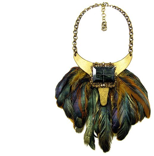Jewellery by Karen bronze leather and glass cabochon pendant with feathers.  Details: http://jewellerybykaren.com/boutique/necklaces/necklace-982n