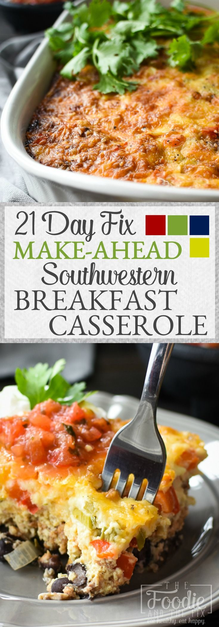 This easy 21 Day Fix Make-Ahead Southwestern Breakfast Casserole is the perfect meal-prep or company breakfast! Great for kids, brunches and holiday guests, it's also gluten-free!