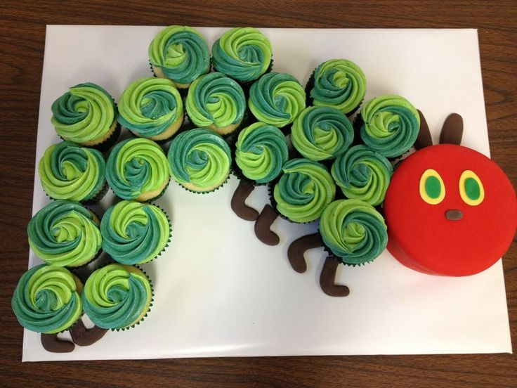 hungry Caterpillar cupcakes- Love this for 1st birthday, red cake is the smash cake! Can buy red icing from the bakery. Smooth it using viva paper towels. Make the other buttercream. Fondant eyes.