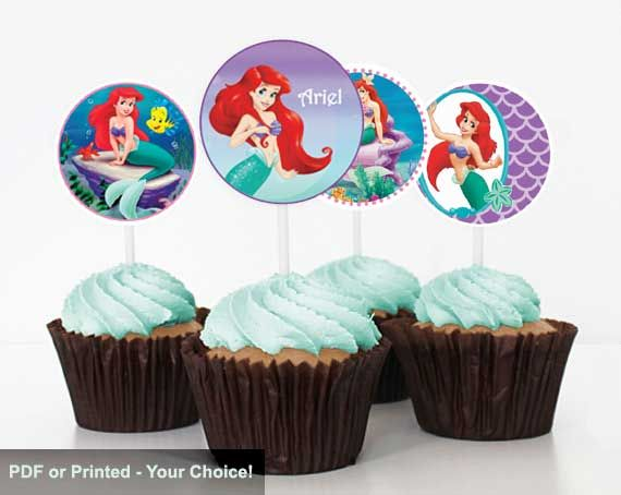 Little Mermaid Party Stickers - Birthday Cupcake Toppers - Avery 22807 Template - Under the Sea Party Games & Decoration