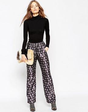 ASOS AFRICA Satin Trouser In Blue Geo Tile Print
