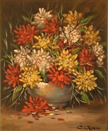 Flores Cláudio Arena (Brasil, 1945) óleo sobre tela, 50 x 40 cm
