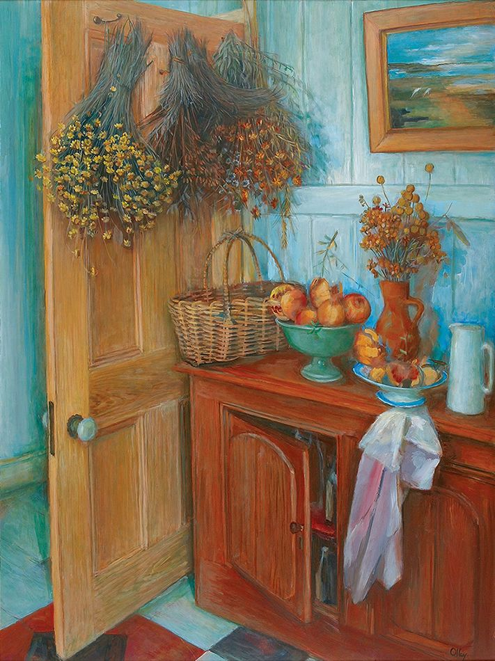 Untitled - Interior, Margaret Olley. Oil on board, 90.0 x 120 cm. Paddington, Sydney.