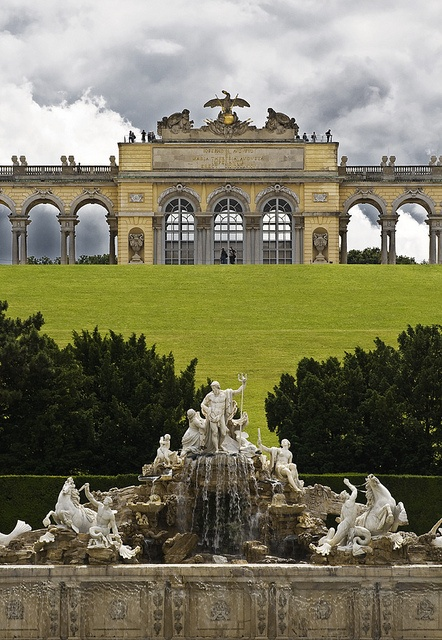 Schönbrunn Palace Garden ~ Vienna, Austria--such opulent lives the royalty lived.  This was just their summer place...a place to get out of the city of Vienna...1441 room summer place!!!!  The building in the photo is in the garden---atop a hill...slj