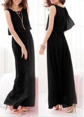 Round Neck High Waist Black Sleeveless Maxi Dress on sale only US$30.64 now, buy cheap Round Neck High Waist Black Sleeveless Maxi Dress at liligal.com