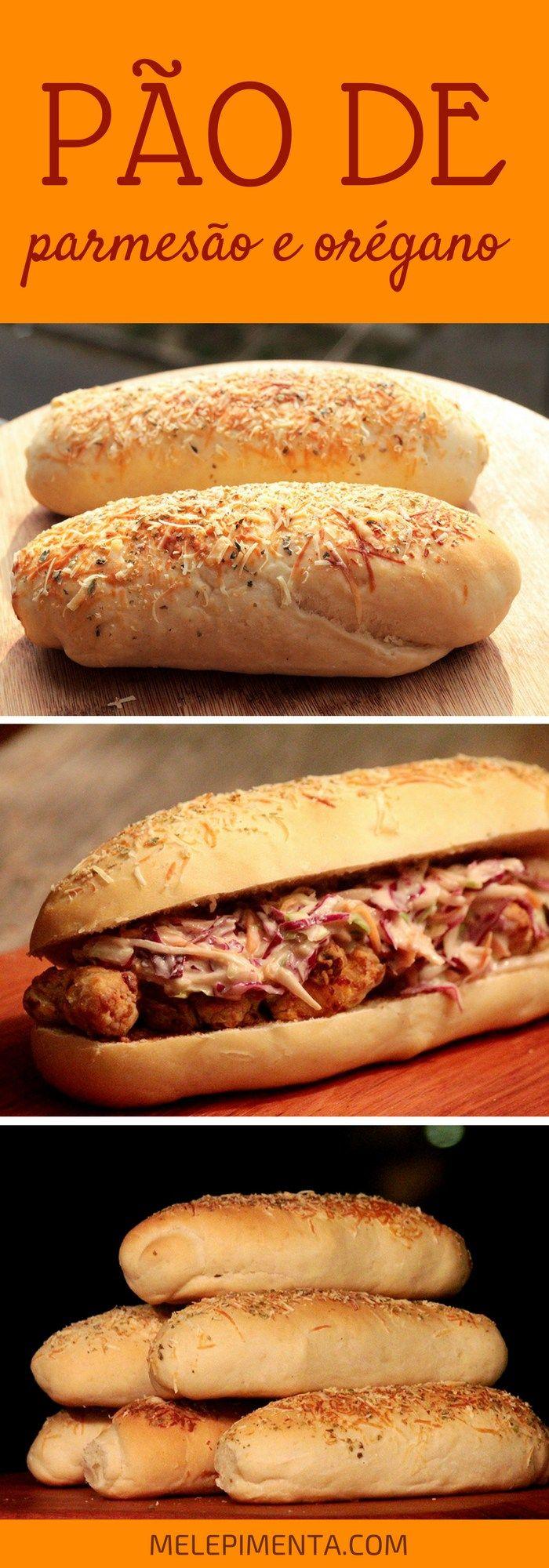 Receita de um delicioso pão de parmesão e orégano para sanduíches - Muito parecido com o famoso pão da Subway, mas ainda mais macio.