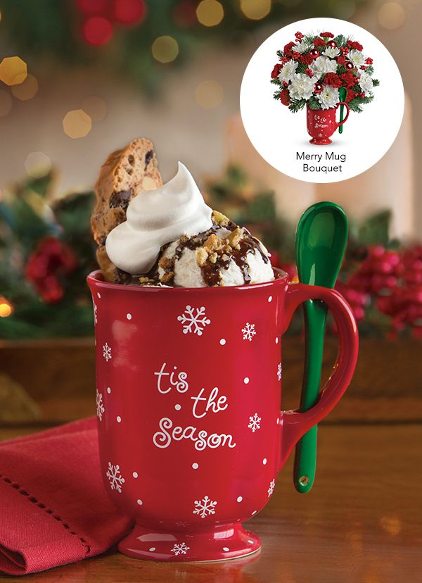 Teleflora's Merry Mug Bouquet - use the keepsake mug to cozy up by the fire with a decadent mug of hot cocoa!