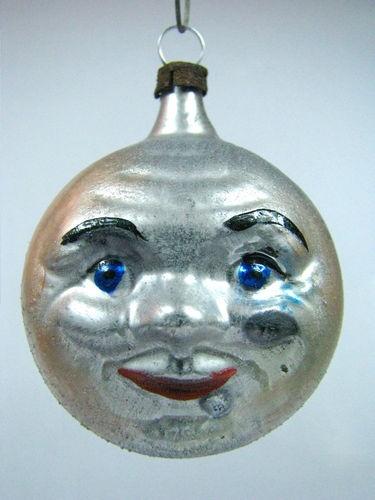 Vintage Double FACE ON MOON German Mercury Glass Christmas Ornament