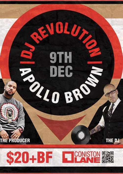 DJ Revolution & Apollo Brown tonight. will have cameras on the decks and overhead so you can see those skills up close on the big screen. come check it out .