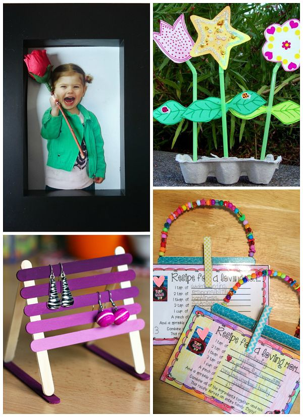 Aww…this year will be my first Mother's Day! While you can never replace the usual handprint keepsake gifts, here are some seriously creative crafts for the kids to make mommy this year! Child Holding a Rose Card Straw Flowers in an Egg Carton Popsicle Stick Earring Holder Mother's Day Recipe Cards Photo Brag Book Clay …