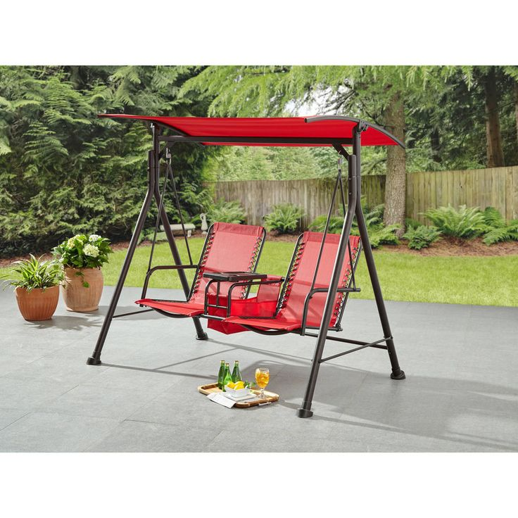 Porch Swing Red Hanging Chair Hammock with Canopy Deck Patio Garden Furniture #OzarkTrail
