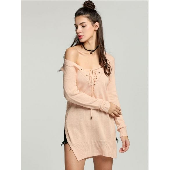 Fashion Women Lace Up V-neck Long Sleeve Side Slit Casual Long Sweater