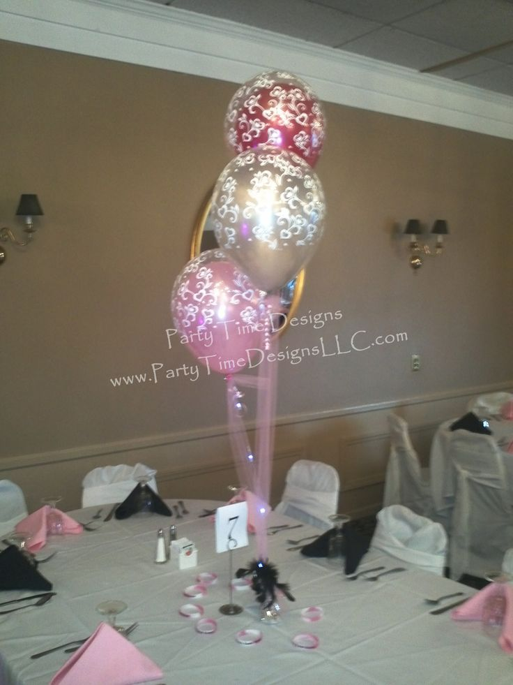 1000 images about sweet 16 centerpiece and balloon ideas for Balloon decoration ideas for sweet 16