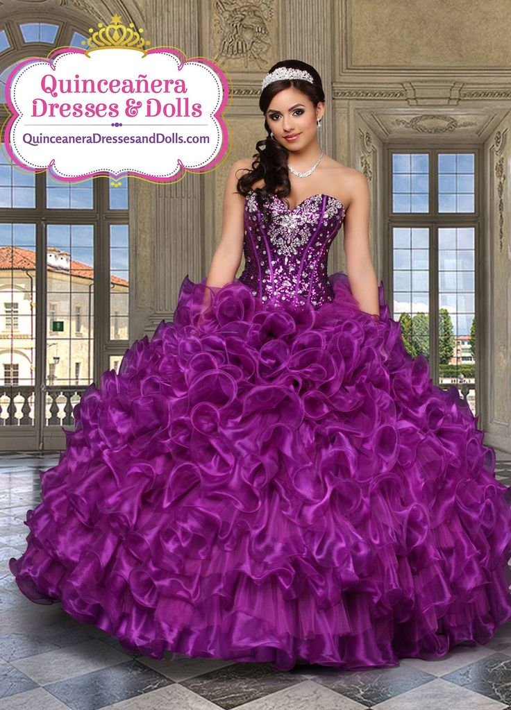 Purple ruffled quinceañera dress
