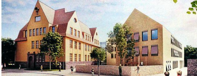 So soll es nach Fertigstellung 2018 aussehen: Das rechte Gebäude der Gemeinschaftsschule in Bürgel wird neu gebaut, um ab Herbst 2018 auch den Grundschulteil beherbergen zu können, der aktuell noch in Thalbürgel sitzt. Das Gebäude mit Flachdach in der Mitte wird neu errichtet. Foto: Implenia