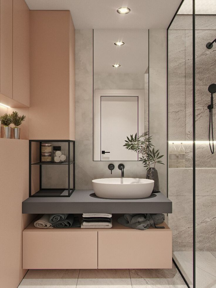 Catch a pinky bathroom | by Yumo Architects  designers: Sasha Martyniuk, Masha Kukoba location: Kyiv, Ukraine project year: 2017|18  Follow us to see more: instagram.com/yumo.architects