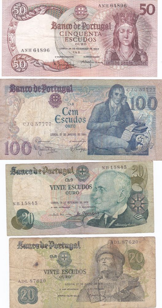 PORTUGAL GREAT LOT 4 OLD BANKNOTES  PAPER MONEY BANKNOTE CIRCULATED