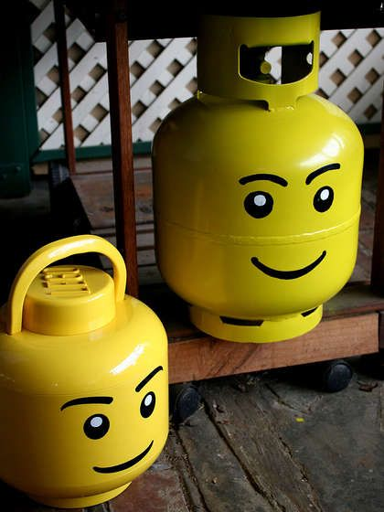 DIY Lego Propane Tanks for the BBQ. So cute!
