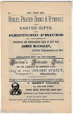McCAULEY'S CHRISTIAN BOOK STORE MARTIN'S HOTEL PHILA PA ANTIQUE ADVERTISING PAGE