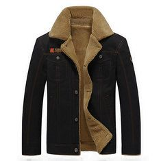 Plus Size Military Pockets Turn Down Collar Solid Color Washed Cotton Jacket for Mensales-NewChic Mobile