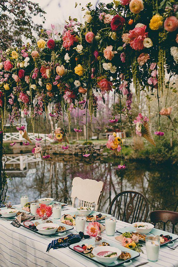 hanging flower decor - photo by Tree of Life Films http://ruffledblog.com/summer-brunch-wedding-inspiration