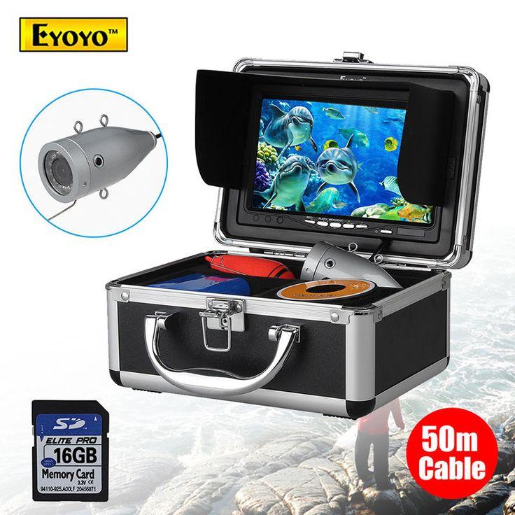 Eyoyo 50M 7 inch 1000TVL Monitor Underwater Video Camera 16GB Fish Finder DVR TF Card Free shipping