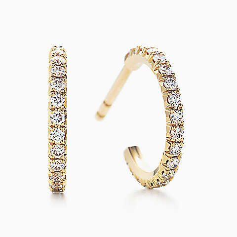 Tiffany Metro hoop earrings in 18k gold with diamonds, small.