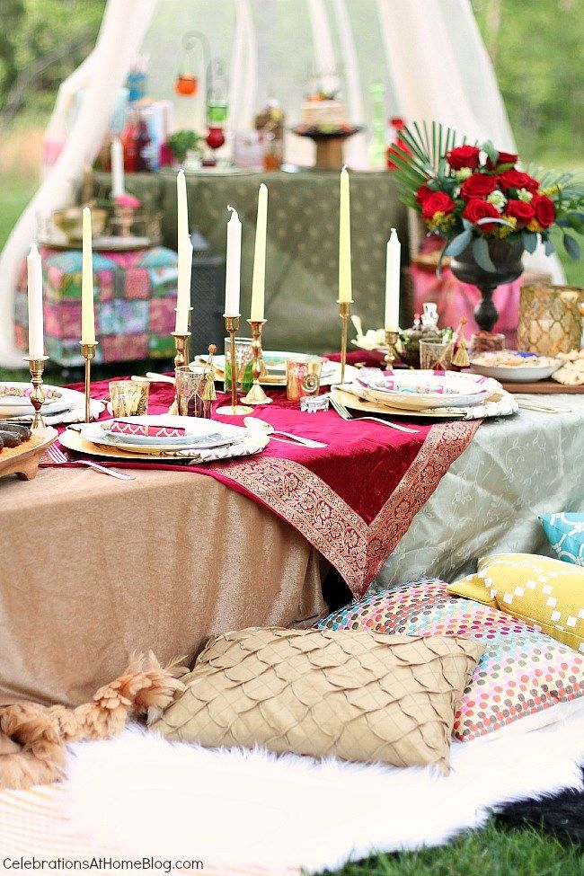 Lots of decor, food, & drink ideas from this Moroccan inspired party.