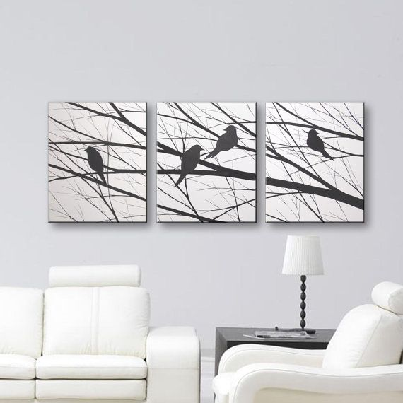 SALE Bird Silhouette Wall Art Canvas Art Original Painting Home Decor Modern Art Tree Wall Decor Black & White Paintings Wall Hangings 48x20
