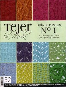 Guía de puntos para tejer a palillos y a crochet de la revista Tejer la moda.