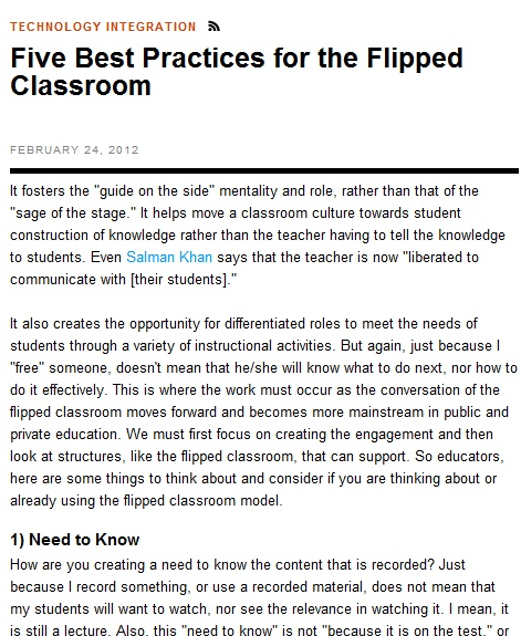 Five Best Practices for the Flipped Classroom