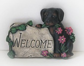 Customized Ceramic Welcome Dog Sign- 8.0 inches long, hand made