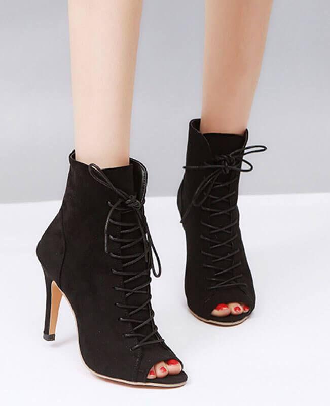 Lace Up Thin High Heel Peep Toe Boots  931296b10