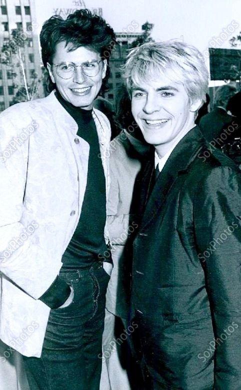 electric-barbarella: John Taylor and Nick Rhodes at Capitol Records (July 23rd, 1987)