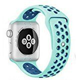 #9: Baby Blue Silicone Sports Band with Blue holes for Apple Sport iWatch Band 42mm wristband Watchband