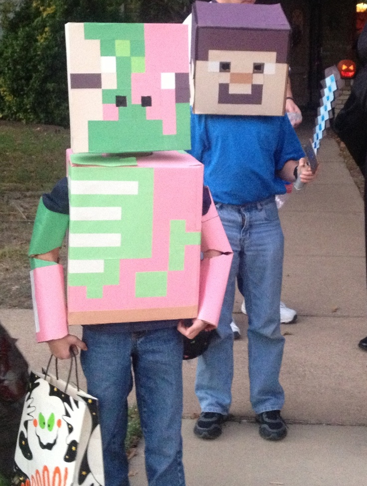 Home Made Mine Craft Zombie Pigman And Steve Costumes