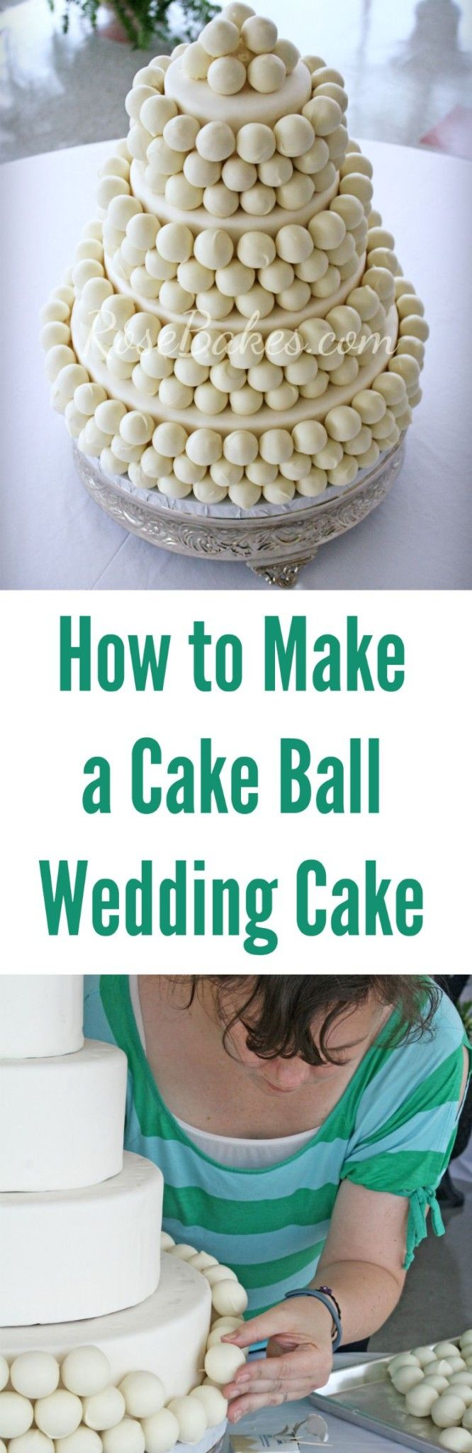 Such an awesome way to display cake pops! How To Make A Cake Ball Wedding Cake