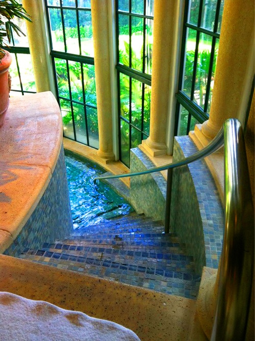 tile staircase to indoor pool